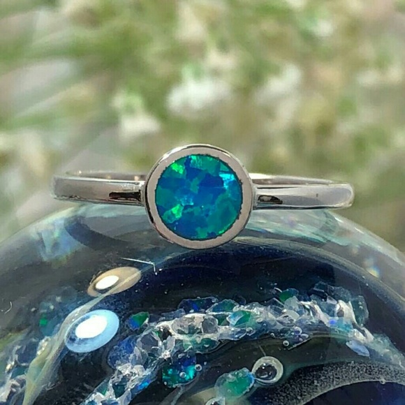 Glitzs Jewels 925 Sterling Silver Created Opal Ring White   Jewelry Gift for Women White